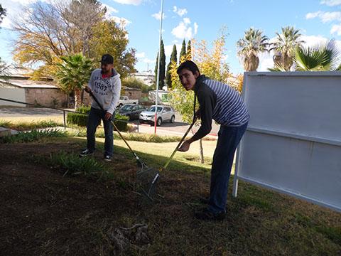 Groundskeeping training with rakes